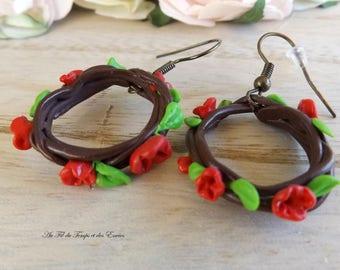 Red flower crown earrings