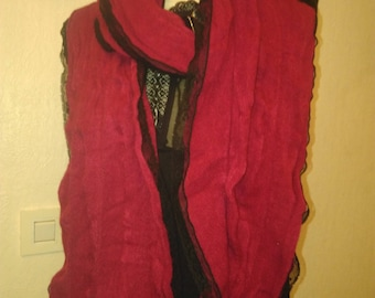 Scarf made of cotton and acrylic red and Black Lace