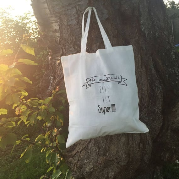 "Tote bag white cotton ""My Mistress she is great"""