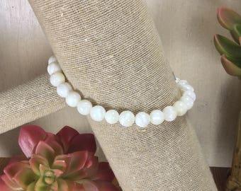 Mother of Pearl Gemstone   Stretch Bracelet   Stacking Bracelet   Boho Bracelet   Crystal Bracelet   Healing Crystal Jewelry