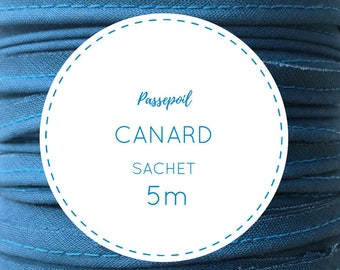 Sachet 5 m cotton piping - blue duck