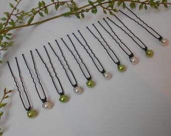 Hair pins, Bridal - 10 beads ivory and lime on hair clips