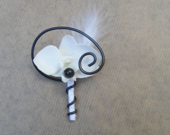 Boutonniere - PIN for wedding - black and white with Orchid