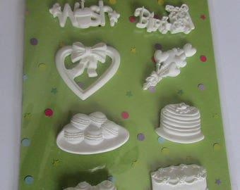 Figurines adhesive birthday theme
