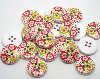 8 Wooden Red and Green Flower Print 4 hole Buttons 15mm