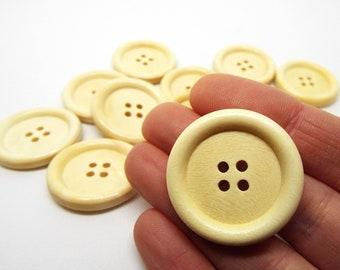 Large Light Wooden Round 4 hole Buttons 30mm
