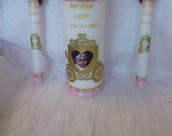 Candle + decoration for fairy tale Princess theme baptism candle