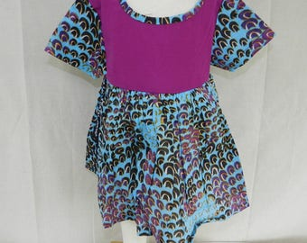 One size dress No. 28 blue cotton multi color baby girl 0 to 12 months