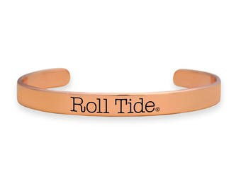 Alabama Crimson Tide Roll Tide Rose Gold Cuff Bracelet