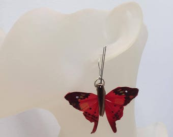 Butterfly earrings red wood