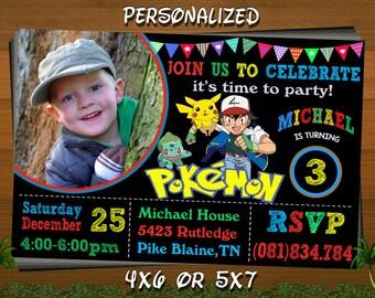Pokemon Invitation, Pokemon Birthday Invitation, Pokemon Birthday Card Pikachu, Pokemon Birthday Card, Pokemon Party, Pokemon GO Invitation