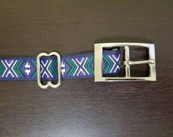 "1"" Dark Blue/ Purple Jacquard Dog Collar"