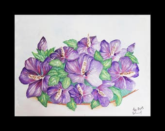 Watercolor and a bouquet of purple ibiscus