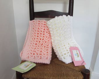 Pretty handmade crocheted pram blanket security blanket
