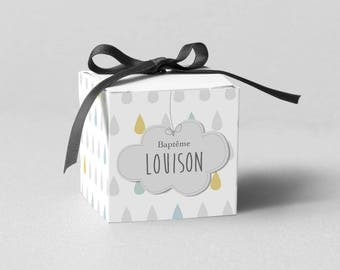 box dragees small cloud Pastel, grey/yellow/blue - model Louison