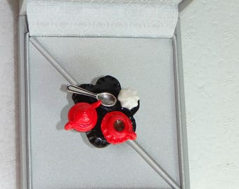 ring with red tea tray bright polymer clay