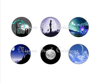 """25mm, 20mm, 14mm, 12mm, Digital Images for hobby """"Moon"""""""