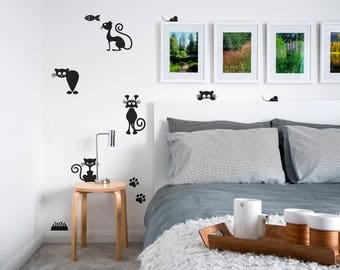 Balck Cats Wall Decals-Kitty Wall Decal-Funny Cats stickers-Animal Vinyl Decals-Dorm decor-Cat Vinyl Wall Decal-Kids room decals-Nursery