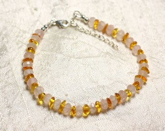 Silver 925 stone rose Quartz and amber bracelet natural 5-6mm