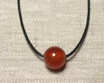 Necklace pendant gemstone - carnelian ball 14mm