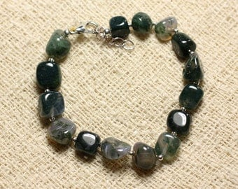 Bracelet 925 sterling silver and stone - 8mm Nuggets Moss Agate