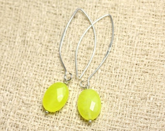 Earrings 925 sterling silver and neon yellow Jade - stone 14mm faceted ovals