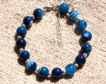 Bracelet 925 sterling silver and gemstone - blue Agate 8 mm