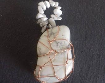 wire wrapped HOWLITE pendant