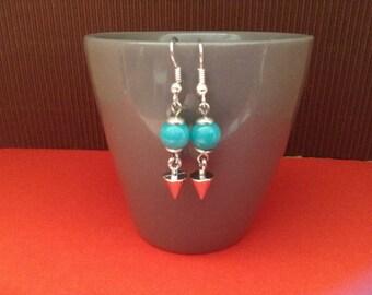 jade turquoise hook earrings silver plated