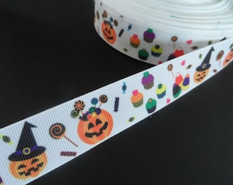 2 metres of Halloween Pumpkin witch 25 mm Ribbon