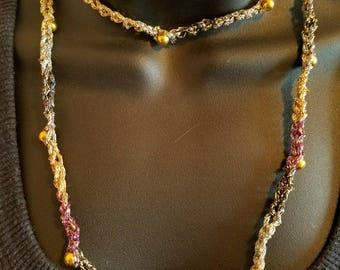 crocheted shimmer necklace/ bracelet wrap