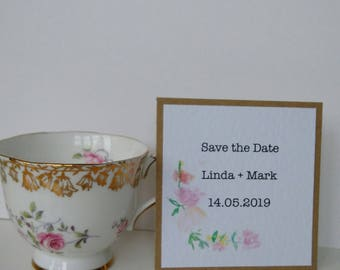 Watercolour Flowers Rustic Save the Dates