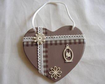 Brown grey rustic heart wall decor