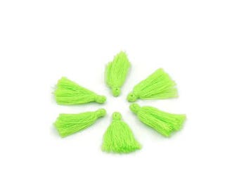 Lime green cotton tassel