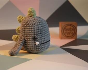 """""""It ' monster"""" 100% cotton Crochet Amigurumi rattle toy"""