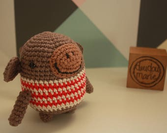 """""""It ' monkey"""" 100% cotton Crochet Amigurumi rattle toy"""
