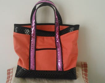 faux leather and fabric handbag
