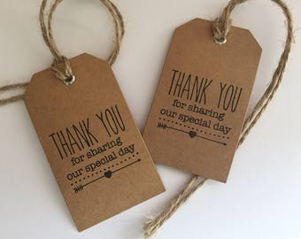 50 Handmade Thank You For Sharing Our Special Day Brown Kraft Card Wedding Tags with Eyelet & Twine