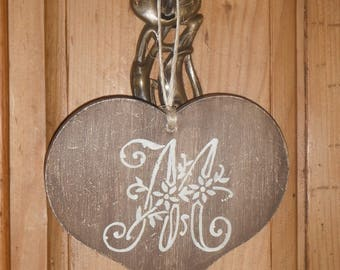 Small wooden hanging heart decoration letter M old