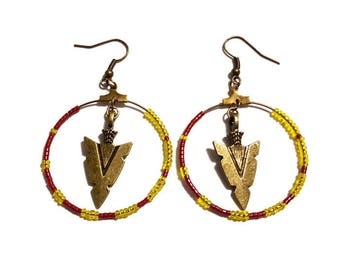 Arrow, yellow and Burgundy beads earrings