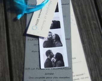 Board style photo booth with modern wedding invitation