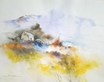 "Landscape watercolor painting ""perched high on the Hill"""