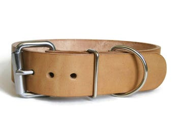 "Natural Leather Dog Collar 1.5"" Wide Nude Leather / No Dye Heavy Duty Full Grain Leather Collar for Large & X Large Dogs Handmade in USA"