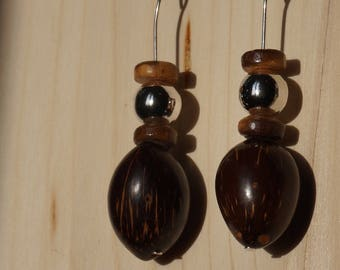 natural coconut earrings on, whole coconut and rondelles