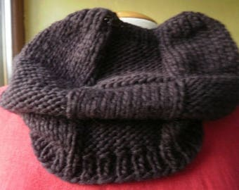 mixed snood, neck chocolate-brown color, hand knitted