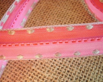 Synthetic, fuchsia color ribbon and pink candy, tapes, width 18 mm
