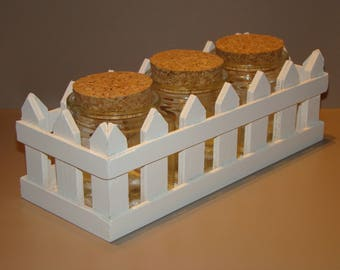 Wooden white color with 3 jars for candy, spices...