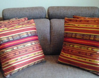 COLLECTION OF RED AND GOLD COVERS PILLOWS AND SOFA ABLE COTTON