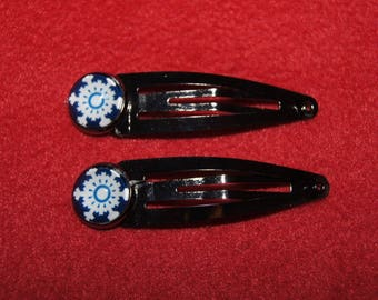 Set of 2 hair clips snowflakes