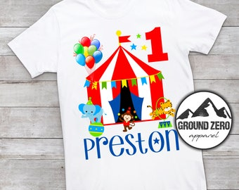 Boy's Circus Carnival Birthday Shirt - Personalized with Name and Age - Circus Carnival Birthday T- Shirt - Custom Birthday Shirt